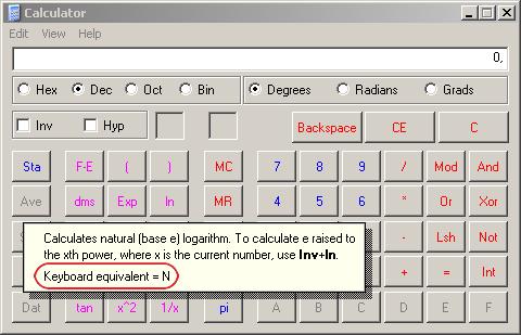 Справка по кнопке ln